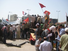 Preparing for May First on Tahrir Square