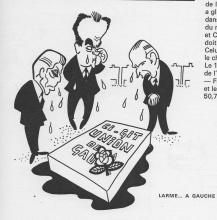 Fabre, Marchais, Mitterrand stehen am Grab ihres Gemeinsamen Programms