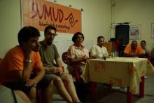 Leila Khaled besucht Sumud-Aktivisten