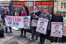 Vor österreichischer Botschaft in London: für die Freilassung von Abu Habel